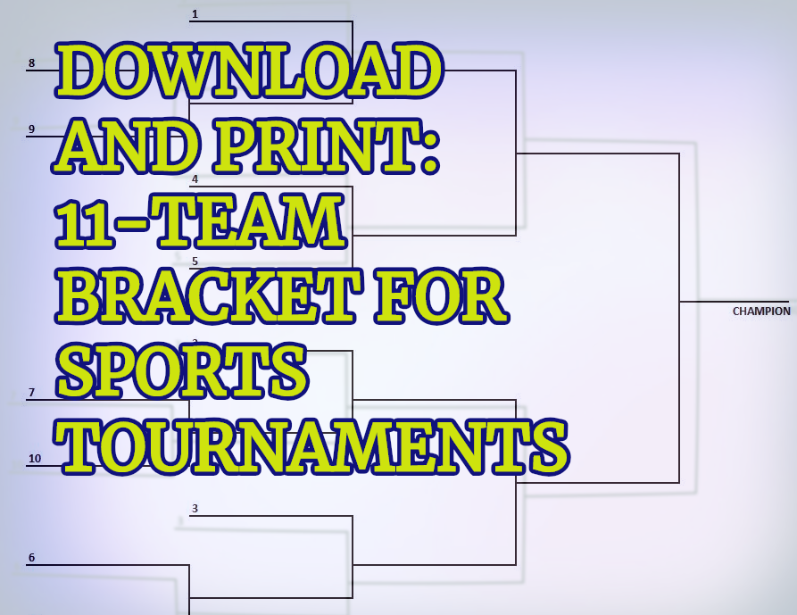 11 Team Bracket Single Elimination Blank Bracket For Sports
