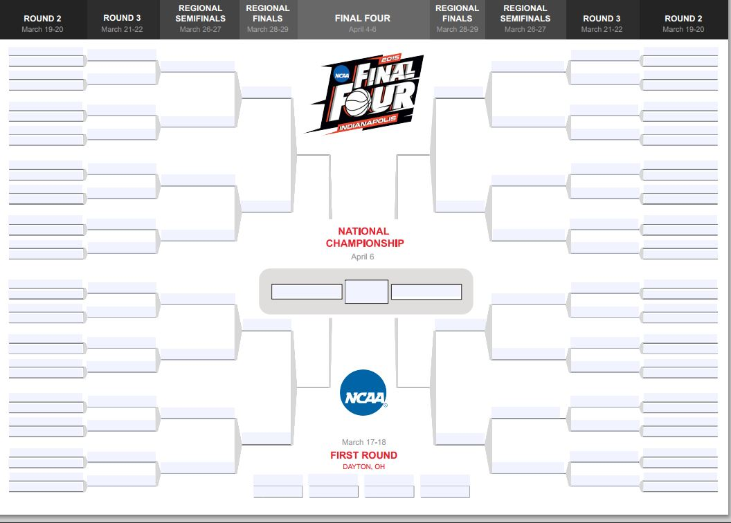 Get Your Printable 2015 NCAA Tournament Bracket