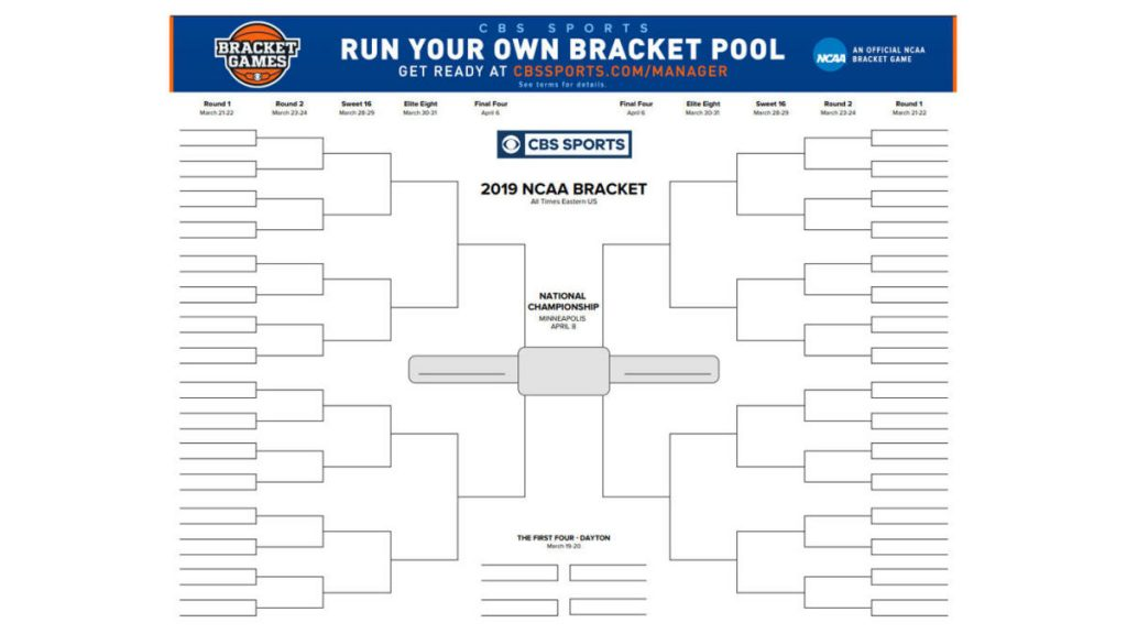 March Madness Bracket 2020 Printable.Fillable Ncaa Tournament Bracket For March Madness 2019
