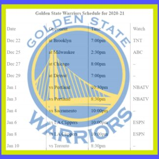 Printable Golden State Warriors schedule and national TV schedule for 2020-21 season