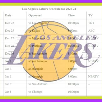 Printable Los Angeles Lakers schedule and TV schedule for 2020-21 season
