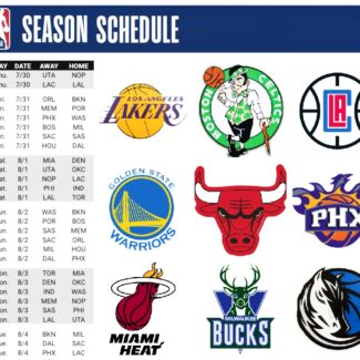 Here are all the printable NBA team schedules for the 2020-21 season
