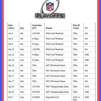 Printable NFL Playoff game schedule for the 2020-21 season