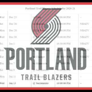 Printable Portland Trail Blazers schedule (and TV schedule) for 2020-21 season