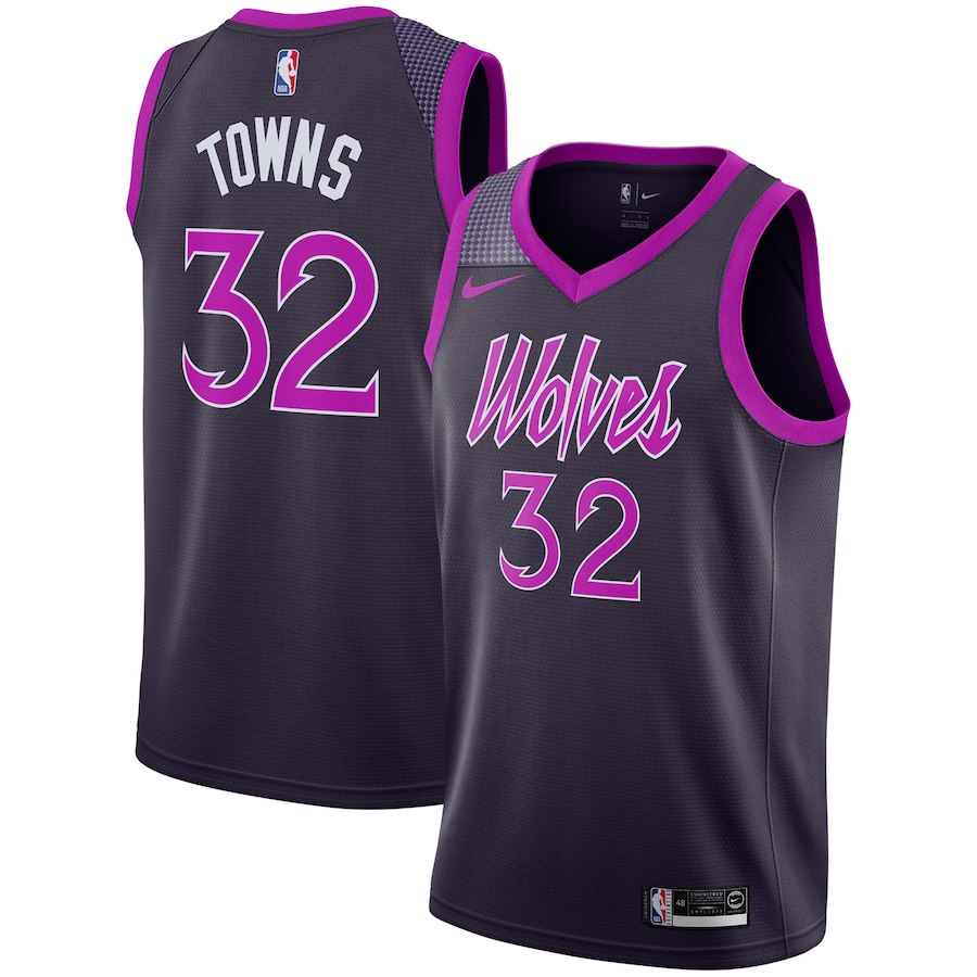 a3206683 Here's the Karl-Anthony Towns Nike black/purple Swingman City Edition  jersey.