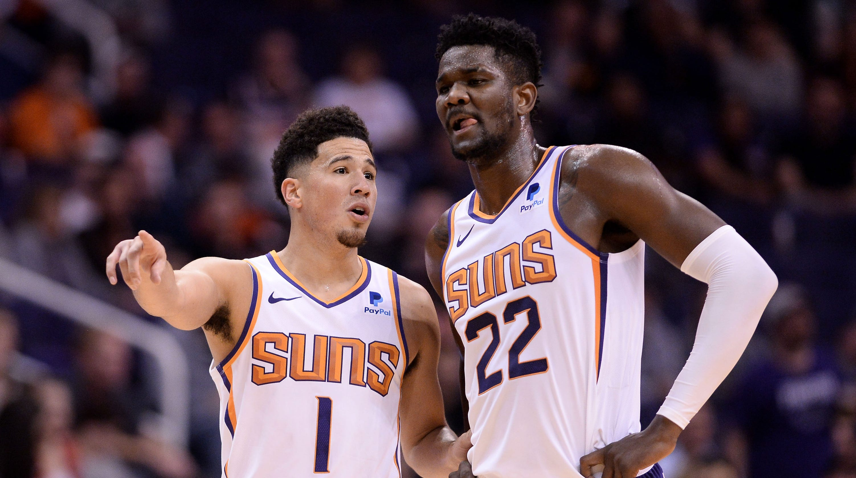 Booker and Ayton of the Phoenix Suns