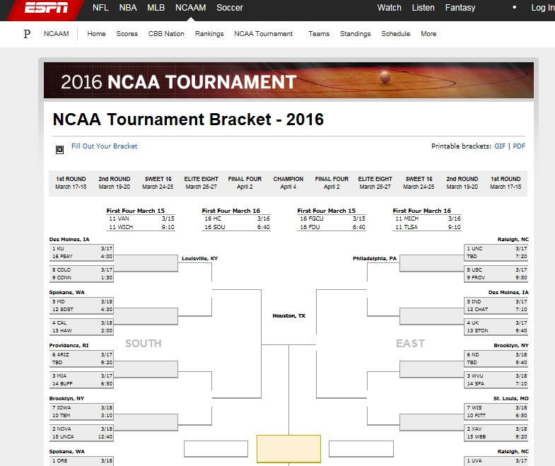 Print Out March Madness Brackets For 2016 Tournament
