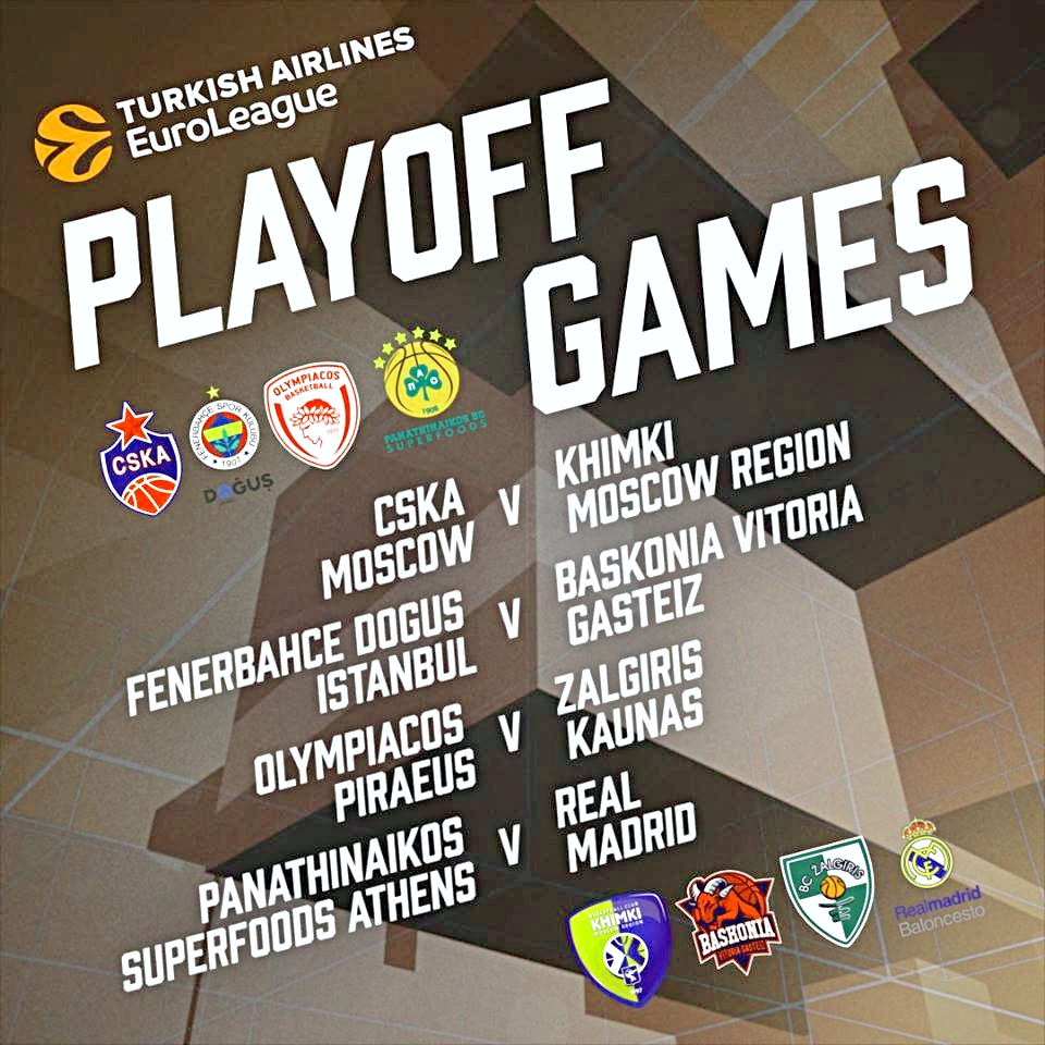 f00d3ff4158 The Turkish Airlines EuroLeague Playoffs tip off with Game 1 in four  best-of-five quarterfinal series on Tuesday, April 16 and Wednesday, April  17.
