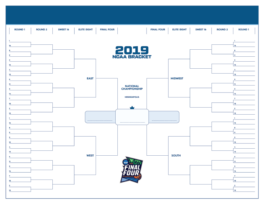 Free March Madness Bracket To Print For 2019 Ncaa Tournament Update