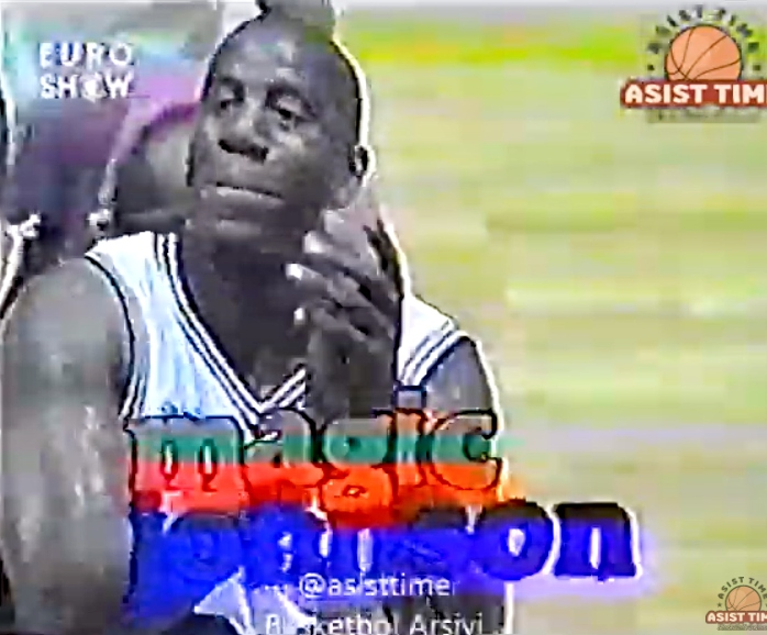 Watch Magic Johnson and other NBA players take on Turkish pro team Ülkersport in 1995