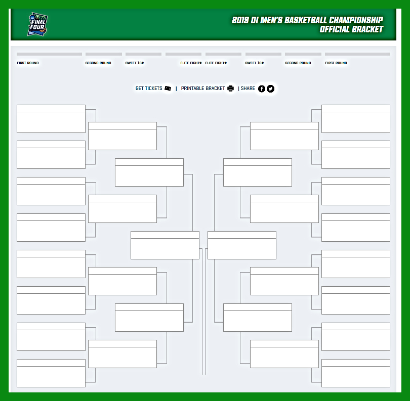 Print Out Blank Ncaa Brackets For The Tournament Pdf Excel For 2019