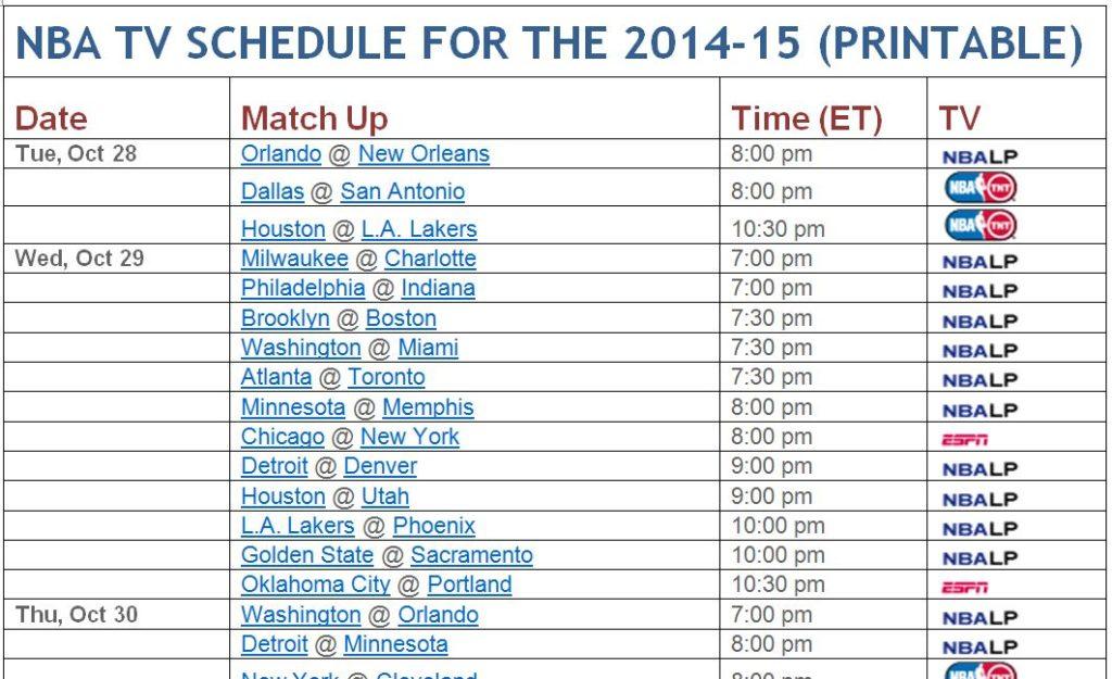 photo about Olympics Tv Schedule Printable titled Printable NBA Television set Program (TNT, ESPN, ABC, NBATV) for 2014-15