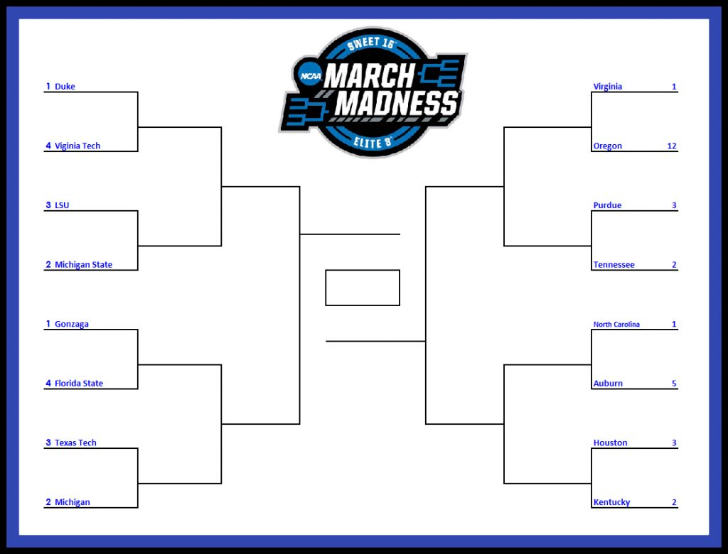 Printable Sweet 16 Elite 8 Tournament Bracket For March Madness 2019