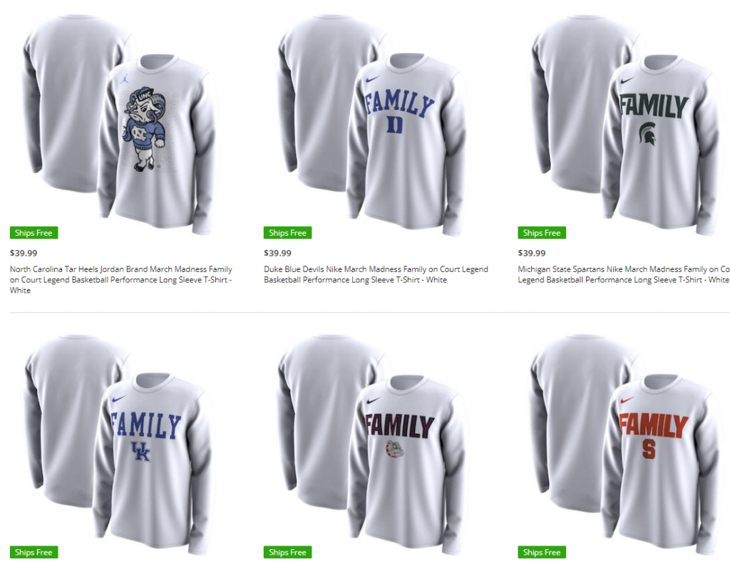 """ebd268f7819798 First check out these Jordan Brand March Madness """"Family"""" logo shirts and  sweatshirts that you ve see on the court all throughout the tournament."""