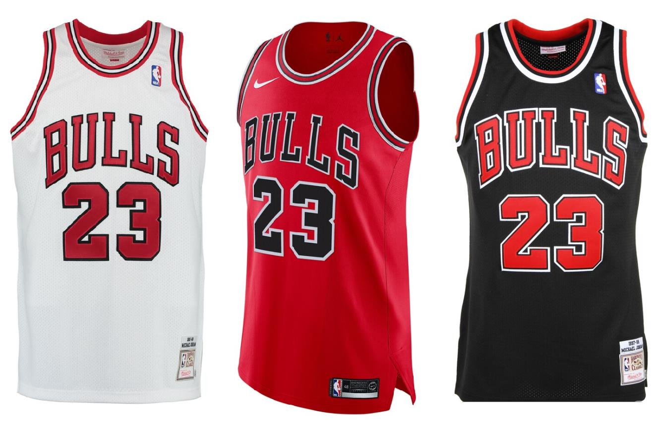 MJ Chicago Bulls jerseys in white, red and black