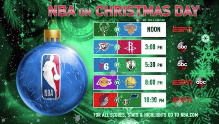 NBA Tv schedule on Christmas Day 2018