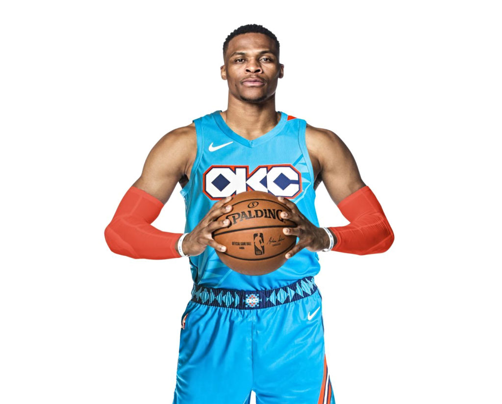 ... honoring the state and city  the team s look honors Native American  heritage. The turquoise jerseys that Russell Westbrook 800edda95